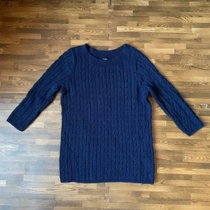 Talbots Navy Blue Cable Knit 3/4 Sleeve Sweater